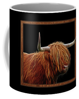 Bad Hair Day - Highland Cow - On Black Coffee Mug