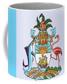 Coffee Mug featuring the drawing Bahamas Coat Of Arms by Movie Poster Prints