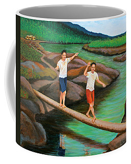 Balancing Life Through A Straight And Narrow Path Coffee Mug by Cyril Maza