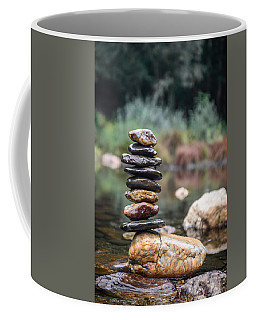 Balancing Zen Stones In Countryside River I Coffee Mug by Marco Oliveira