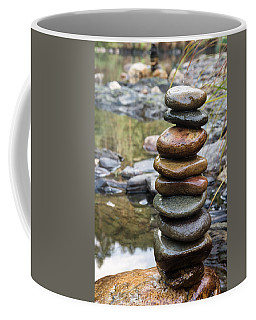 Balancing Zen Stones In Countryside River Vii Coffee Mug