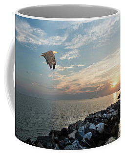 Bald Eagle Flying Over A Jetty At Sunset Coffee Mug
