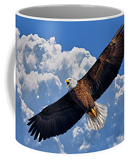 Bald Eagle In Flight Calling Out Coffee Mug by Justin Kelefas
