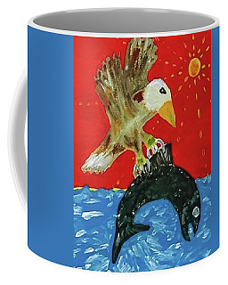 Coffee Mug featuring the painting Bald Eagle Versus King Salmon by Jonathon Hansen