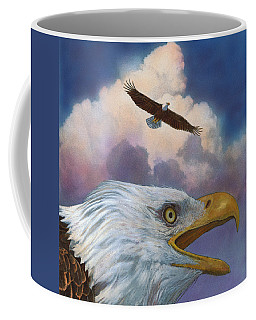 Coffee Mug featuring the painting Bald Eagles by John Dyess