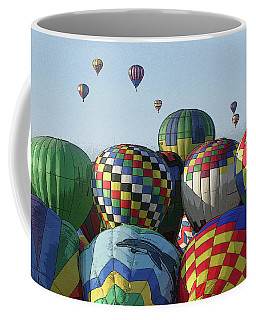 Coffee Mug featuring the photograph Balloon Traffic Jam by Marie Leslie