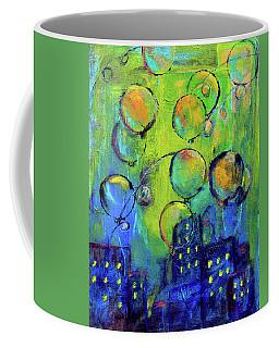 Cheerful Balloons Over City Coffee Mug