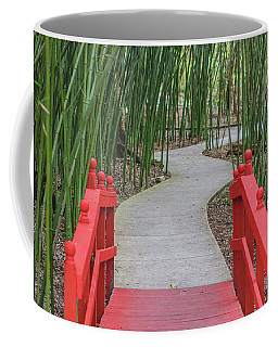Coffee Mug featuring the photograph Bamboo Path Through A Red Bridge by Raphael Lopez