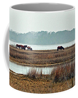 Band Of Wild Horses Along Sinepuxent Bay Coffee Mug