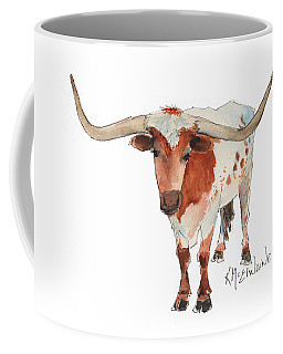 Texas Longhorn Bandero Watercolor Painting By Kmcelwaine Coffee Mug