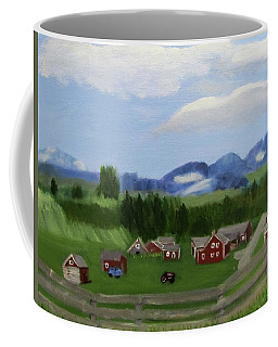 Coffee Mug featuring the painting Bar U Ranch by Linda Feinberg