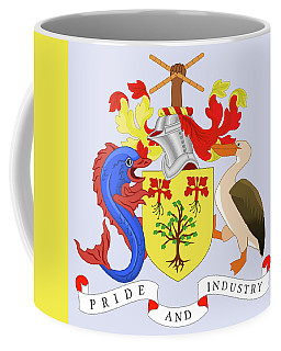 Coffee Mug featuring the drawing Barbados Coat Of Arms by Movie Poster Prints