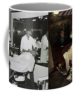 Coffee Mug featuring the photograph Barber - A Time Honored Tradition 1941 - Side By Side by Mike Savad