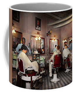 Coffee Mug featuring the photograph Barber - Senators-only Barbershop 1937 by Mike Savad