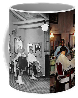 Coffee Mug featuring the photograph Barber - Senators-only Barbershop 1937 - Side By Side by Mike Savad
