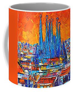 Barcelona Abstract Cityscape 7 - Sagrada Familia Coffee Mug by Ana Maria Edulescu