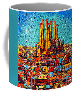 Barcelona Abstract Cityscape - Sagrada Familia Coffee Mug