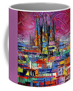 Barcelona Colors Sagrada Familia By Night Modern Impressionist Stylized Cityscape Coffee Mug