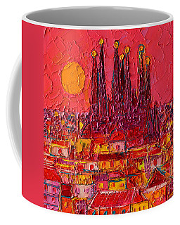 Barcelona Moon Over Sagrada Familia - Palette Knife Oil Painting By Ana Maria Edulescu Coffee Mug