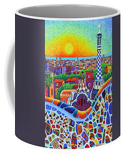 Barcelona Park Guell Sunrise Gaudi Tower Textural Impasto Knife Oil Painting By Ana Maria Edulescu Coffee Mug