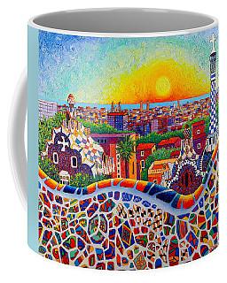 Barcelona Sunrise Colors From Park Guell Modern Impressionism Knife Oil Painting Ana Maria Edulescu Coffee Mug