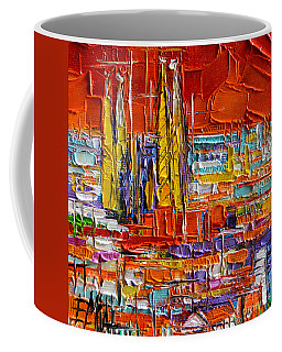 Barcelona Sagrada Familia View From Parc Guell Abstract Palette Knife Oil Painting Coffee Mug