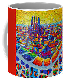 Barcelona View Sagrada From Park Guell Impressionist Abstract City Knife Painting Ana Maria Edulescu Coffee Mug