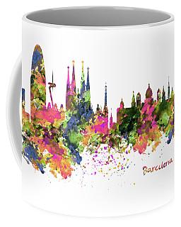 Barcelona Watercolor Skyline Coffee Mug by Marian Voicu