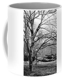 Bare Tree On Walking Path Bw Coffee Mug