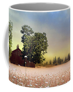 Coffee Mug featuring the photograph Barn And Lace by Rebecca Cozart