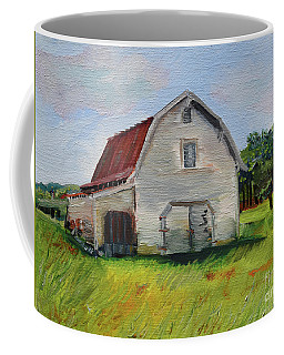 Coffee Mug featuring the painting Barn-harrison Park, Ellijay-pinson Barn by Jan Dappen