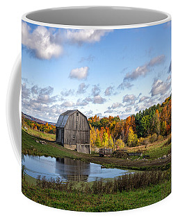 Coffee Mug featuring the photograph Barn In Autumn by Mark Papke