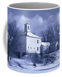 Barn In Winter Blue Coffee Mug