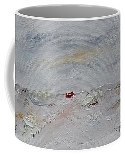 Coffee Mug featuring the painting Barn In Winter by Judith Rhue