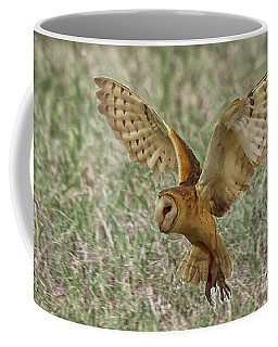Barn Owl Coming In For A Landing Coffee Mug by Myrna Bradshaw