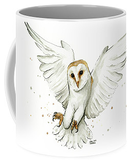 Barn Owl Flying Watercolor Coffee Mug