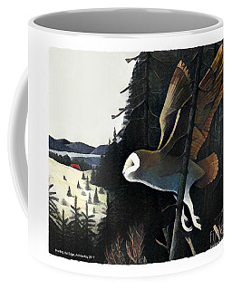 Coffee Mug featuring the mixed media Barn Owl Hunting The Edge by Art MacKay