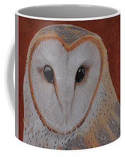 Coffee Mug featuring the drawing Barn Owl by Jo Baner