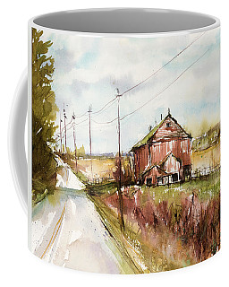 Barns And Electric Poles, Sunday Drive Coffee Mug by Judith Levins