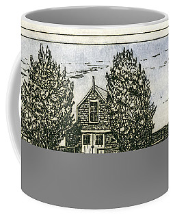 Coffee Mug featuring the mixed media Barnstable Yacht Club Etching by Charles Harden