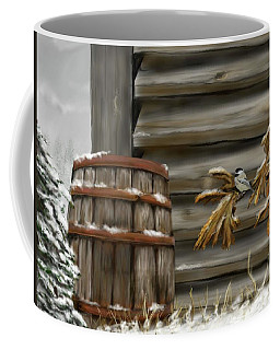 Coffee Mug featuring the digital art Barnyard Barrel And Chickadee by Darren Cannell