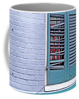 Coffee Mug featuring the photograph Barred And Shuttered by Lynda Lehmann