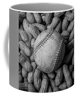 Coffee Mug featuring the photograph Baseball And Peanuts Black And White Square  by Terry DeLuco