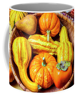 Basket Of Autumn Gourds And Fruits Coffee Mug