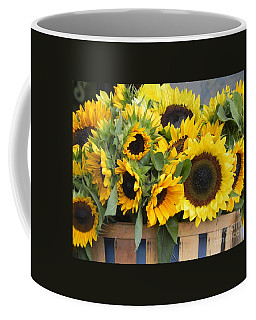 Coffee Mug featuring the photograph Basket Of Sunflowers by Chrisann Ellis