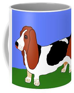 Cartoon Basset Hound In The Yard Coffee Mug