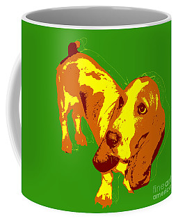 Coffee Mug featuring the digital art Basset Hound Pop Art by Jean luc Comperat