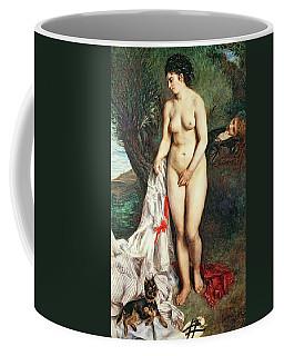 Bather With A Griffon Dog Coffee Mug
