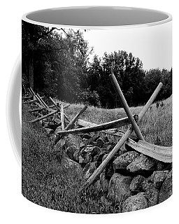 Coffee Mug featuring the photograph Battle Fence In Gettysburg In Black And White by Paul Ward