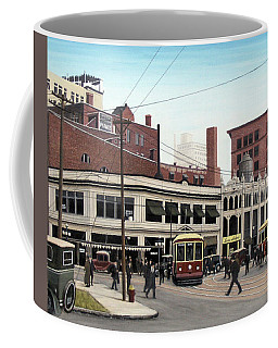 Coffee Mug featuring the painting Bay And Queen Streets C1940 by Kenneth M Kirsch